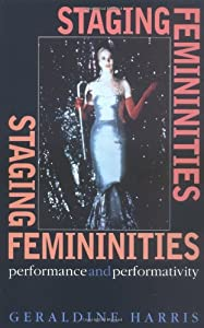 A book cover with a photo of a woman in a form-fitting formal dress. The title text is pink and set at right angles in the corners of the cover.