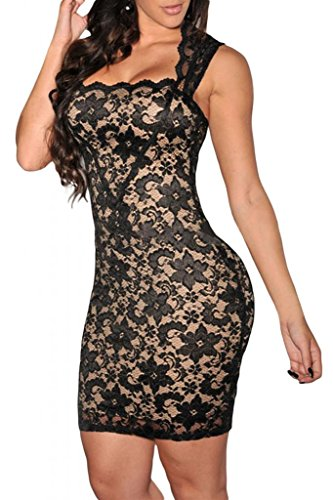 Dear-Lover Women'S Lace Nude Illusion Dress Medium Size Black