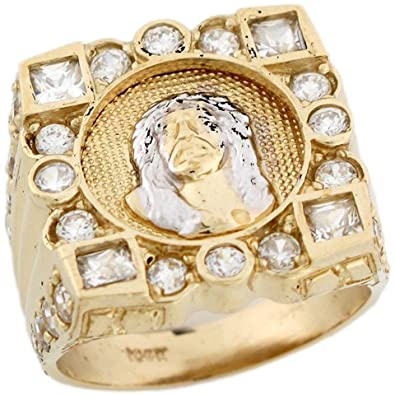 14ct Yellow Gold Cluster White CZ Jesus Catholic Cristian Mens Ring