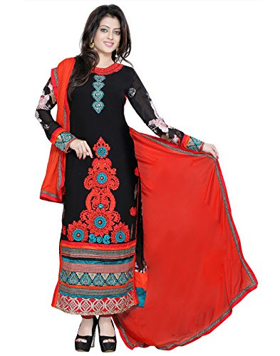 Yehii salwar suits for women stitched party wear Black Georgette