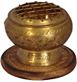 Carved Brass Charcoal Incense Burner