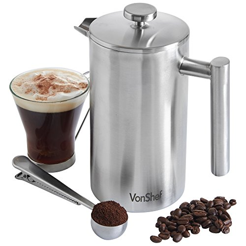VonShef Double-Wall Keep Warm Satin Brushed Stainless Steel French Press Cafetiere Coffee Filter(8 Cup w/ Measuring Spoon and Sealing Clip). Available in sizes 3, 6 and 8 Cup (French Press Thermal compare prices)