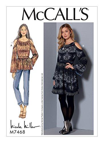 McCall's 7468 (SIZE 14-22) Misses' Cold-Shoulder Tunic and Dress