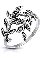 MIMI Sterling Silver Oxidized Ivy Leaf Branch Wrap Ring Size 6, 7, 8, 9, 10, 11