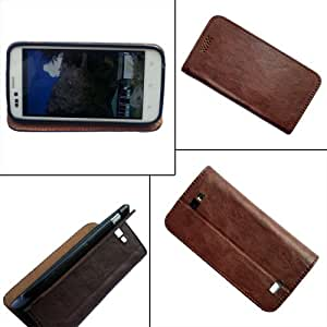 i-KitPit - PU Leather Flip Case Cover Micromax Bolt A26 (BROWN)