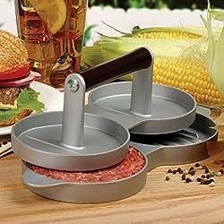 LussoLiv Aluminum Double Burger Press Hamburger Patties Maker Meat Press Kitchen Tools