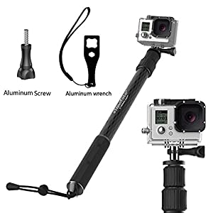 Sinnofoto® C1 (Lion sceptre) Waterproof Selfie Handheld Monopod for Hero 1 2 3 4 Carbon Fiber Monopod with Gopro Tripod Mount & Thumb Screw - Monopod Extends 17.3''-41' Black