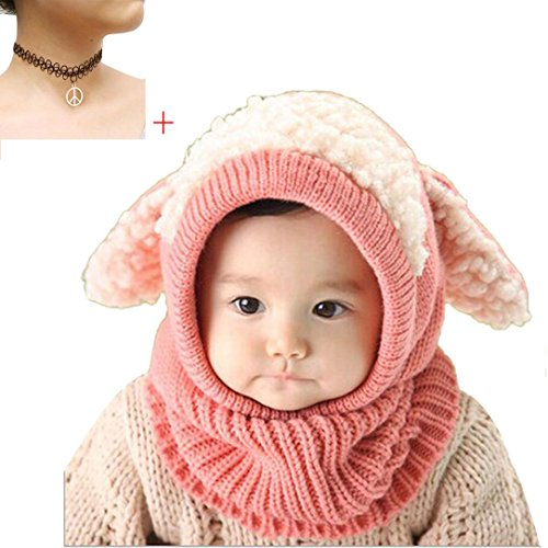 Winter Baby Kids Caps, Misaky Warm Woolen Coif Hood Scarf Hats (Free Size, Pink)
