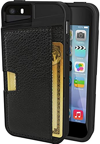01. iPhone 5/S/SE Wallet Case - Q Card Case for iPhone 5/5S/SE by CM4 - Protective Wallet Cover (Black Onyx)