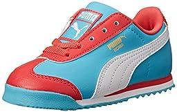 PUMA Roma Basic Kids Sneaker (Infant/Toddler/Little Kid) , Geranium/Blue Atoll/White, 9 M US Toddler
