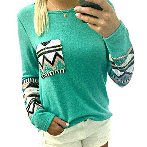 Froomer Womens Long Sleeve Tops Cotton Blouse Geometric Print Shirt T-Shirt