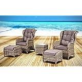 Baidani Rattan Garten Lounge Garnitur Laxity Auflagen Grau