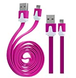 Wayzon Hot Pink Flat High Speed Sync Micro USB Data Cable Lead Charger Suitable For Motorola Moto G 4G / E Dual SIM
