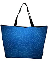 Snoogg Blue Spider Web Designer Waterproof Bag Made Of High Strength Nylon