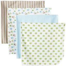 Gerber Baby-Boys Newborn Gorilla 4 Pack Flannel Receiving Blanket, Gorilla Blue, One Size