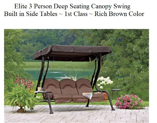 Elite Outdoor 3 Triple Seater Person Swing Glider Canopy Patio Deck W/  Built In Side