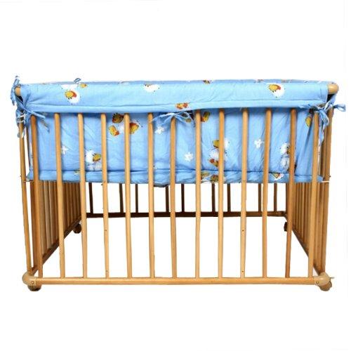 Wooden playpen 100x75 cm blue insert incl.