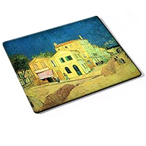 Van Gogh - The Yellow House Vincent S House, Designer Mouse Pad with Colourful Design Strong Anti-Slip Base For Optimum Support Compatible With All Mouse Types (Ball, Optical, Laser).