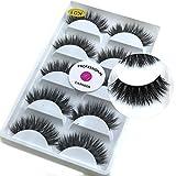 5 Pairs/Box 3D Real Mink False Eyelashes LASGOOS 100% Siberian Mink Fur Luxurious Wispy Natural Cross Thick Long Fake Eye Lashes K01