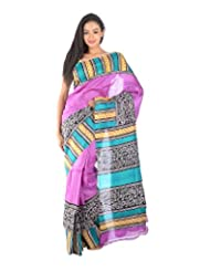 Aishee's Sea Green, Fuchsia,Black And Gold Colored Party Wear Silk Saree