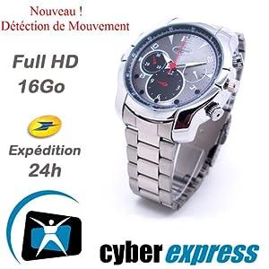 Montre Caméra Cachée Espion 16Go Full HD 1920x1080 Vision Nocturne Modèle Course