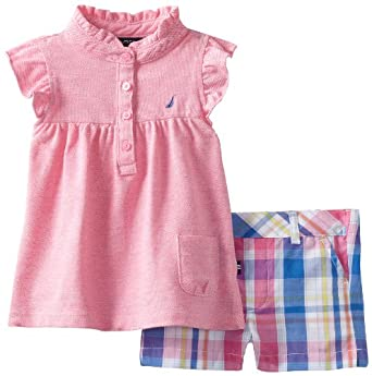 Nautica Baby-girls Infant 2 Piece Flutter Sleeve Set, Pink, 12 Months