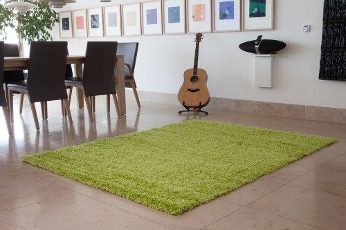 The Rug House Ontario Abriebfester Grüner Strapazierfähiger Hochfloriger Zotteliger Wohnzimmer Teppich - In 4 Größen erhältlich