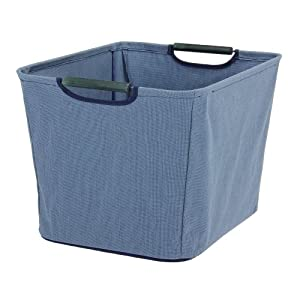 Household Essentials Open Tapered Bin with Wood Handles, Medium, Blue