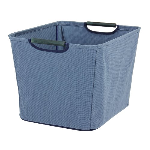 Household Essentials Open Tapered Bin with Wood Handles, Medium, Blue (Household Essentials Bin Blue compare prices)