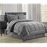 Sweet Home Collection 8 Piece Bed In A Bag With Vine Comforter, Sheet Set, Bed Skirt And Sham Set, Gray, King