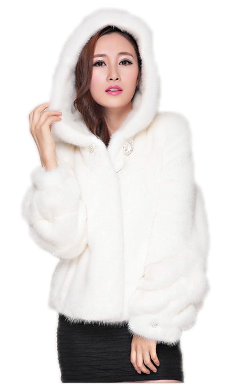 YR.Lover Damen wirklich Nerz Pelz kurz Mantel&Jacke Mit Haube günstig kaufen