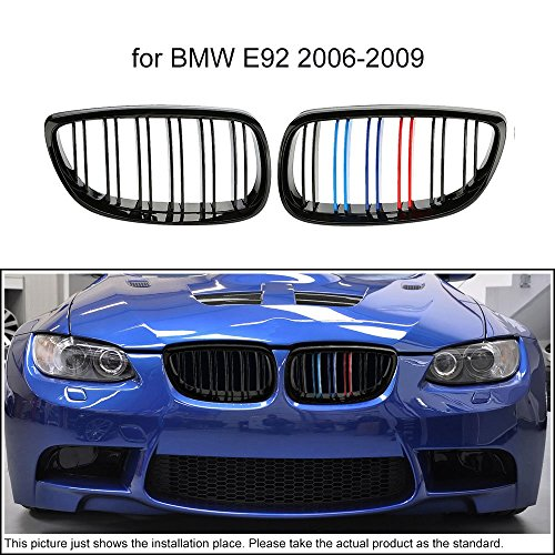 KKMOON Ein paar der Gloss schwarz M-Farbe Auto Kühlergrill Gitter für BMW E92 2006-2009