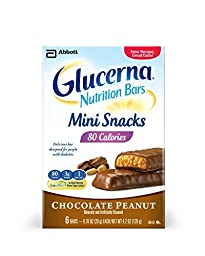 (2 Pack) Glucerna Nutrition Bars Mini Snacks, Chocolate Peanut Six .7 oz bars per box