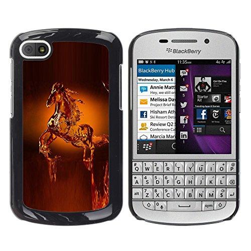 WonderWall Tapete Bunt Bild Handy Hart Schutz hülle Case Cover Schale Etui für BlackBerry Q10 - Pferd Wachskunst Statue Tiere Krone