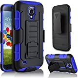 Galaxy S4 Case, Samsung Galaxy S4 I9500 Case, Starshop(TM) Hybrid Full Protection High Impact Dual Layer Holster Case with Kickstand and Locking Belt Swivel Clip Blue
