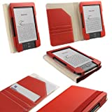 IGadgitz Red 'Organizer' PU Leather Case Cover for New Amazon Kindle 4 Wi-Fi 6