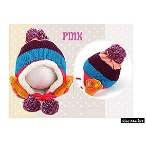 かわいい!! 子供用 帽子 ニット帽 イヤーキャップ付 あったか 猫 犬 パンダ 手袋セット (ピンクセット)