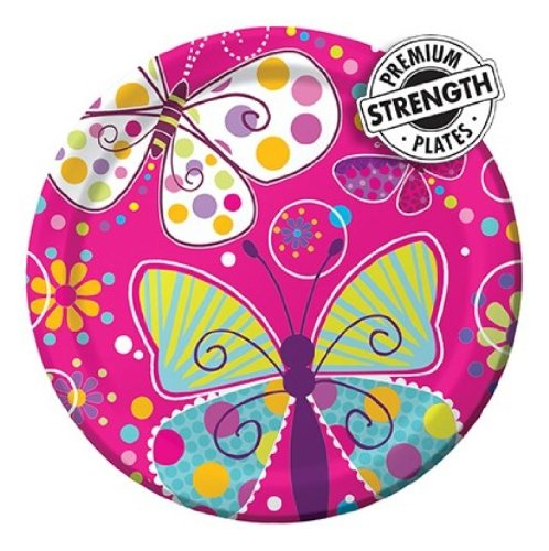 Creative Converting Butterfly Sparkle Round Dinner Plates, 8 Count