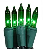 Set of 50 Super Bright Green Mini Christmas Lights - Green Wire