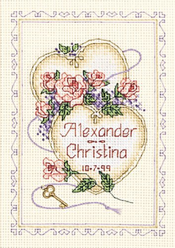 dimensions counted cross stitch united hearts wedding record
