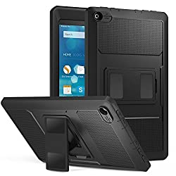 MoKo Case for Fire HD 8 - Heavy Duty Shockproof Defender Full Body Rugged Hybrid Cover with Built-in Screen Protector for Amazon Kindle Fire HD 8 Inch Display Tablet 2015 Release Only BLACK