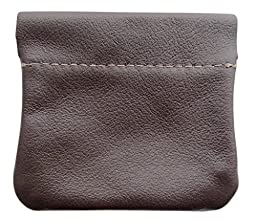 North Star Men\'s Leather Squeeze Coin Pouch Change Holder (3.25 X 3 X 0.25 Inches, Brown)