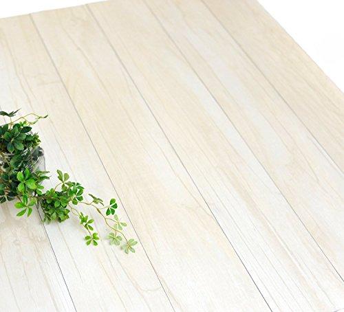 フローリング フロアタイル 接着剤付き 木目柄 シール感覚で貼るだけ床材 ハリーイージーデコタイル 7枚セット(約1平米) ホワイト ウッド