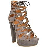 Neu Womens Damen High Heels Plattform Gladiator Sandalen Schnür Stiefel Schuh Größe - Damen, Grau Kunstwildleder, 37