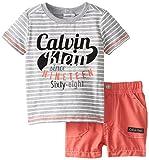 Calvin Klein Baby-Boys Newborn Grey Stripes Tee with Shorts