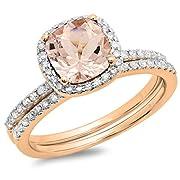 10K Rose Gold Cushion Cut Morganite & Round Cut White Diamond Bridal Halo Engagement Ring Set (Size 8)