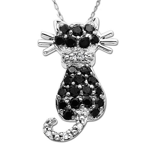 14k White Gold Black and White Diamond Cat Pendant (.29 cttw)