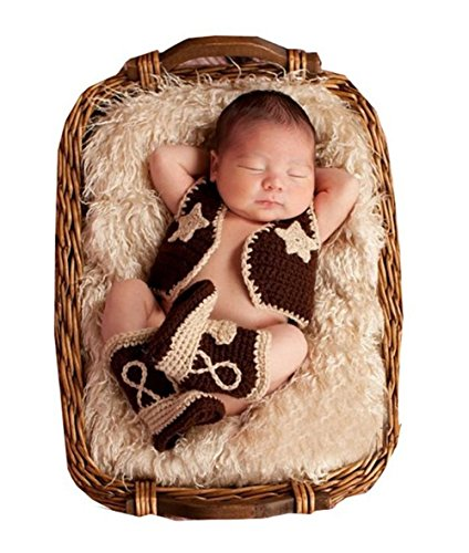 Fasion Cute Newborn Boy Girl Baby Costume Knitted Photography Props Cowboy Wool Suit