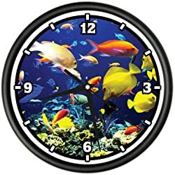TROPICAL FISH Wall Clock tank scuba aquarium