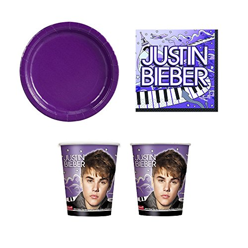 04 Justin Bieber Party Supplies - 16 guests - dinner plates, napkins, cups (Justin Bieber Party Pack compare prices)